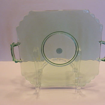 Green depression glass serving tray.