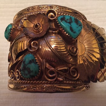 Navajo Watch Cuff, 12K fill, E. King? - Native American