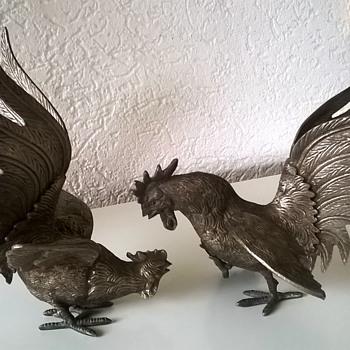 @jscott0363----> Pair of Italian Silver Metal Fighting Cockerels 1950s - Animals