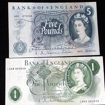 1960s-old british banknotes.