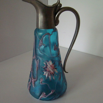 "PK or Kralik ""abstract flower"" decanter - Art Glass"
