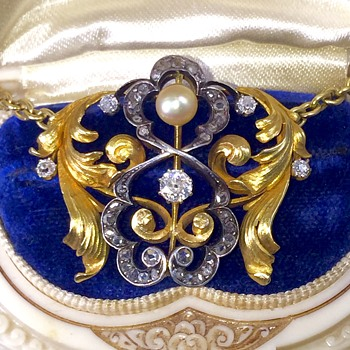Antique Victorian OMC Diamond Pearl 18k & 22k Necklace - Fine Jewelry