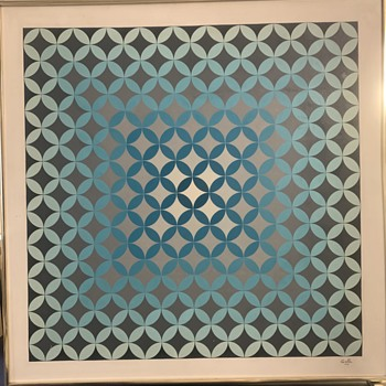 MCM ABSTRACT GEOMETRIC PAINTING All Hand Painted WHO IS GALLA? - Fine Art