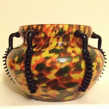 Aventurine spatter black handled tango vase - Welz  - Art Glass
