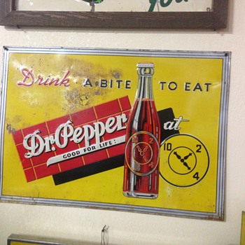 Dr.Pepper sign , early tin panted embossed sign 10-2-4 - Advertising