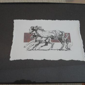 Miniature Horses Drawing - Fine Art