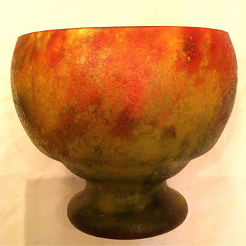 Czech :  Chipped Ice / Glue Chip Red and Green Open Mouth Oval Vase - Art Glass