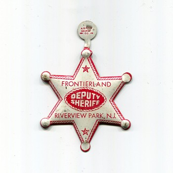 Souvenir Deputy Sheriff Badge from Riverview Park in New Jersey - Advertising