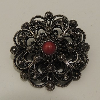 Dutch Costume Brooch and Silver Flower Pin - Fine Jewelry