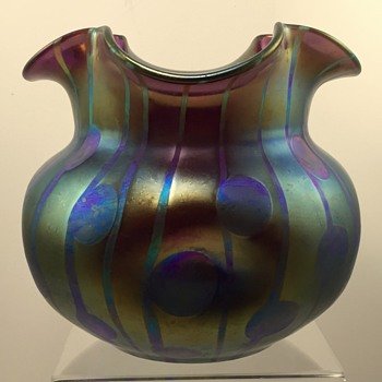 Loetz Violett Streifen und Flecken vase, PN 1335/6 for Robert Medeu & Co., Berlin, ca. 1902 - Art Glass