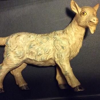 Antique 19c Stoneware/Chalkware Blinking Goat Figurine - Pottery
