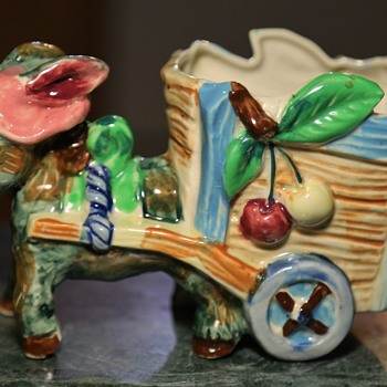 Very Colorful Donkey and Cart - Pottery