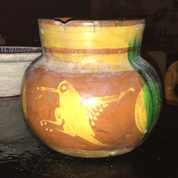 Large Pitcher with abstract designs, color, and hummingbirds - Pottery