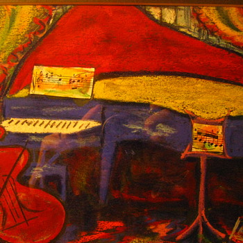 Original Joe Lamanno Impressionist Pastel Painting Cello & Piano on Stage - Fine Art