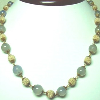 Chalcedony and Seed Pearl Necklace - Fine Jewelry