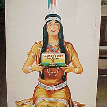 1930s Land of Lakes Butter Indian Maiden Large Tin Advertising Sign