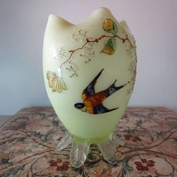 Victorian Art Glass Vase with bird - Art Glass