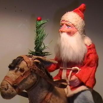 1920's Santa Riding a Donkey Pull Toy