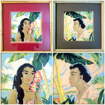 Hawaiiana Art Deco 1950's by Artist Locke - Mid-Century Modern