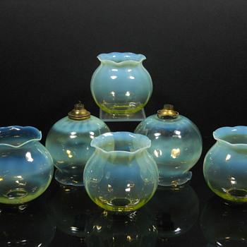 Vaseline glass lamp shades - Art Glass