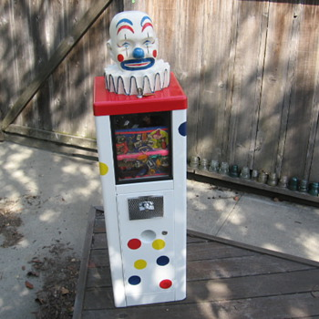Vintage 1960's Circus Clown Head Vending Toy Prize Machine - Coin Operated