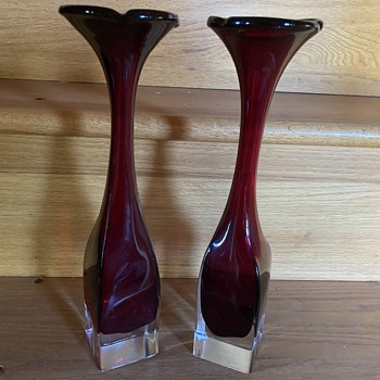 Antique red glass vases - Art Glass