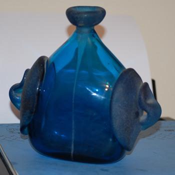 Antique Blue blown glass bottle Jar  - Bottles