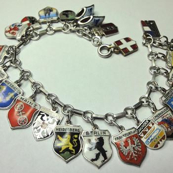 Vintage Silver Enamel Souvenir Travel Shield Charm Bracelet - Fine Jewelry