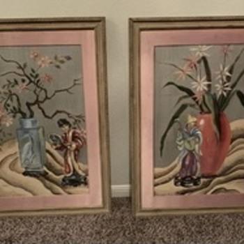 """Asian painting on Silk unknown Artist """"Askart"""" - Fine Art"""