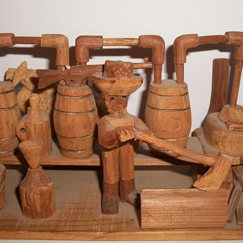 Moonshiner Wood Carved Tableaux Folk Art collection Jim Linderman - Folk Art