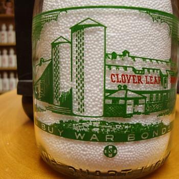 Clover Leaf Dairy two color war bond milk bottle - Bottles