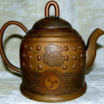 Antique Asian chased brass / copper teapot - Asian