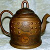 Antique Asian chased brass / copper teapot