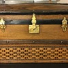 Ornate Wood Front Barrel Top Doll Trunk