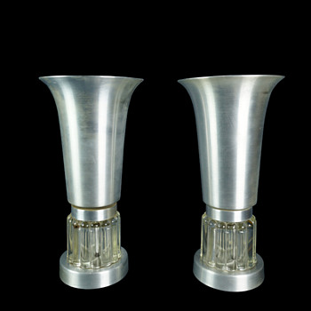Pair of Spun Aluminum and Glass Console Torchiere Lamps - Lamps