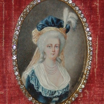 Marie Antoinette Miniature Hand-Painted Portrait In Frame - Fine Art