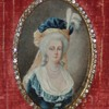Marie Antoinette Miniature Hand-Painted Portrait In Frame