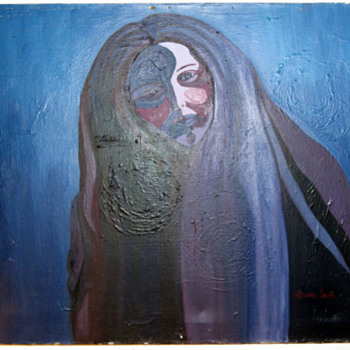 Laura Smith Oil On Canvas Cobolt Blue Abstract / Impressionism Lady - Fine Art
