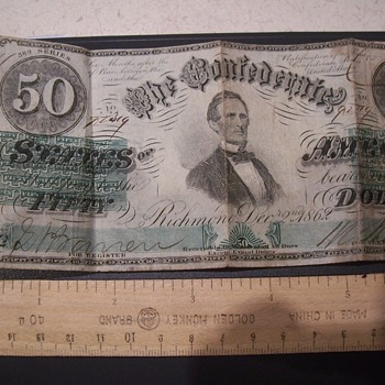 DEC. 2, 1862  CONFEDERATE $50.00 BILL- RICHMOND - US Paper Money