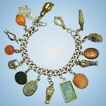 1920s or 30s Egyptian charm bracelet, I bet she saw some great things during her vacations - Costume Jewelry