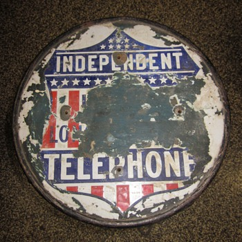 Independent Telephone Porcelain Top Advertisment Stool - Advertising