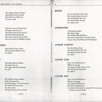 Some Recipes From the 100 Famous Cocktail Book 1939 Waldorf-Astoria NY - Kitchen