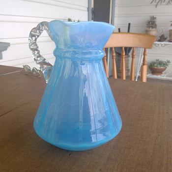 Victorian Blue Opalescent Jug - Art Glass