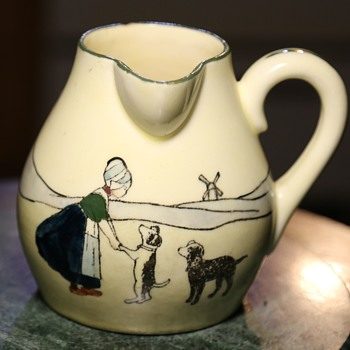 Made in Austria - HAAG - Pitcher with Girl Training Dogs - Pottery