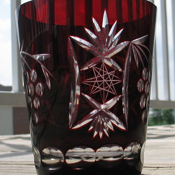 Bohemian Ruby Red Cut Crystal Old Fashioned - Art Glass