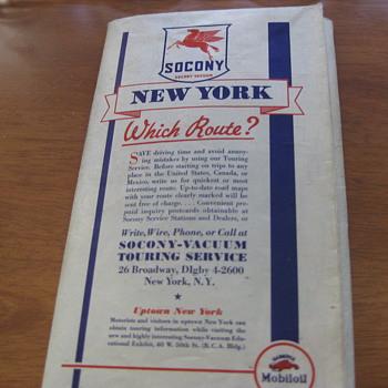 Mobil Gas (Socony Vacuum) Vintage (1936) NEW YORK map - Petroliana