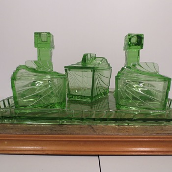 Art Deco Glass Dresser Set - Art Deco