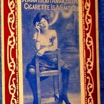POSTCARD TOBACCIANA,CATEGORY-- DARING WOMAN HIKES SKIRT & SMOKES! (1911) WILD FOR THE TIMES! - Postcards