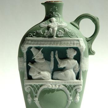early 20th cent.  jasperware flask SCHAFER & VATER, germany - Bottles