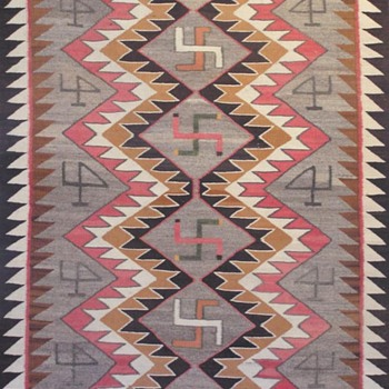 Navajo Rug (whirling logs) with Original Tag (1905) - Rugs and Textiles